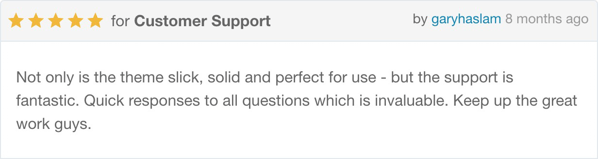 Not only is the theme slick, solid and perfect for use - but the support is fantastic. Quick responses to all questions which is invaluable. Keep up the great work guys.